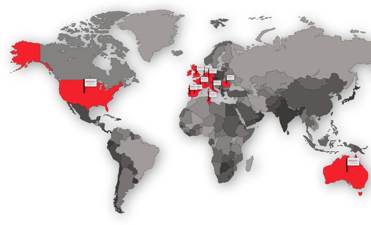 Mappa geografica della presenza internazionele di Infopro Digital Automotive