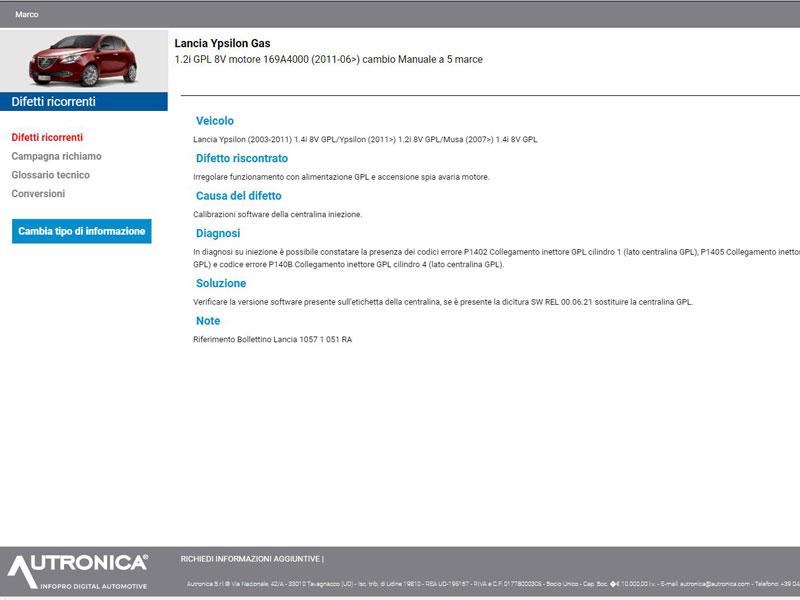 Banca dati auto Autronica Multimedia - Difetti Auto