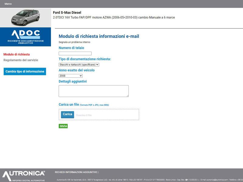 Richiesta dati tecnici auto e informazioni di riparazione ADOC