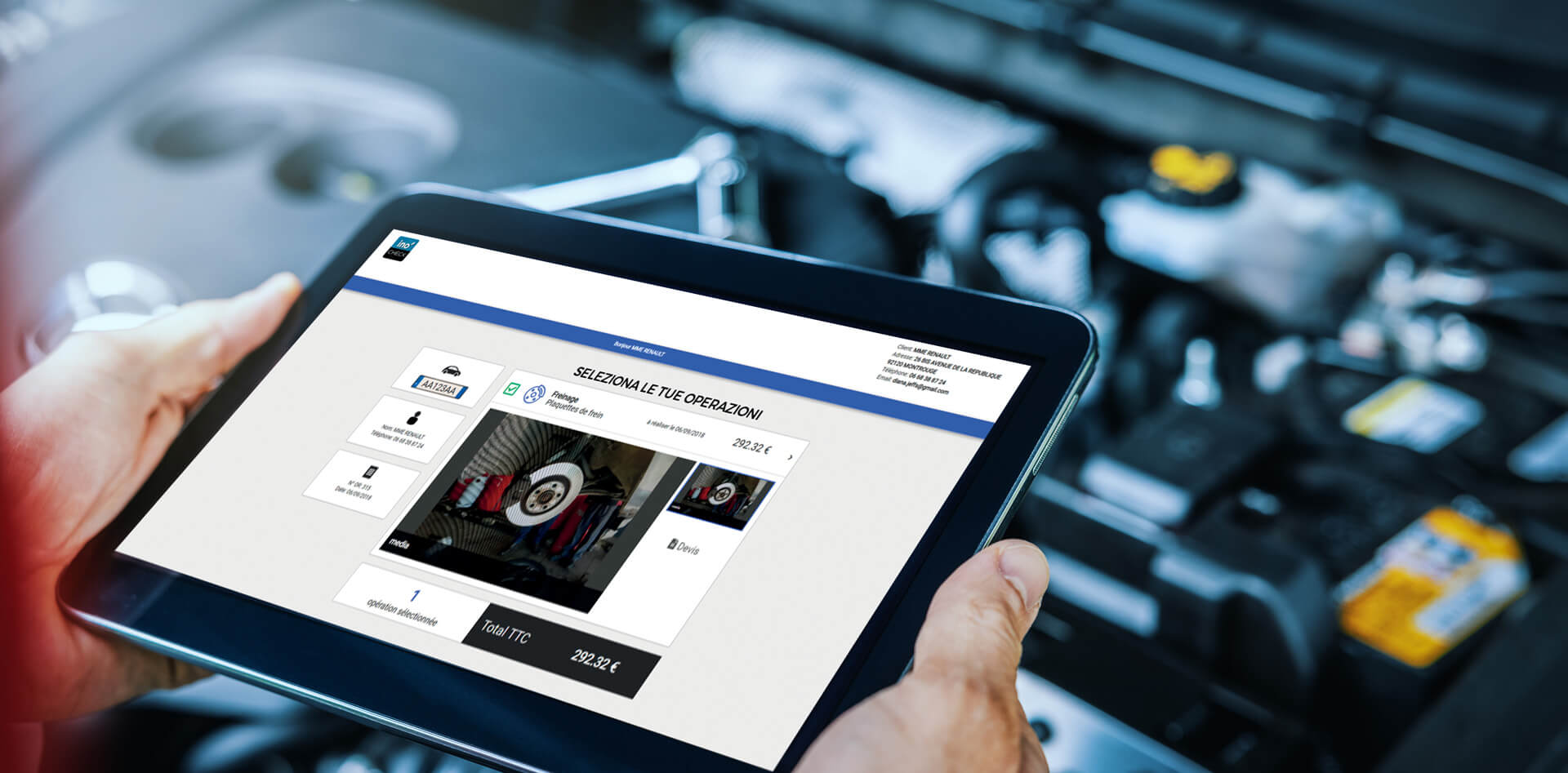 Tablet inocheck per controlli auto in officina